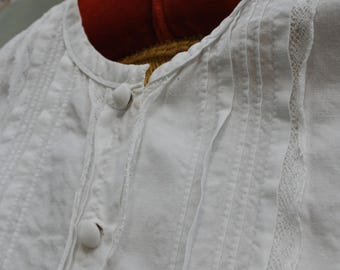 French Antique cotton and lace blouse,handstitched
