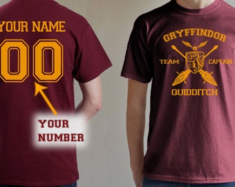 Gryffindor shirt Team Captain Quidditch tshirt Customize name and number Unisex S - XXL
