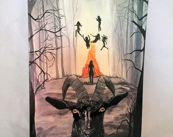 """Black Phillip """"Live Deliciously"""" Lined Notebook,Original Art Diary Journal, Occult Devil Witches Book, Magical Satan Black Phillip Journal"""