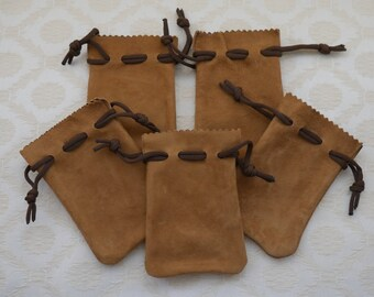 Suede Pouch, 5 x Pouch Bag, Leather Pouch, Suede Leather, Drawstring Bag, Jewelry Bag, Suede Gift Bag, Suede Leather Bag, Jewelry Supplies