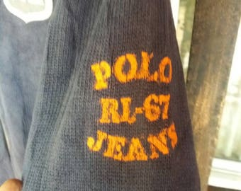 Vintage Polo jeans rl67 knitwear zipper spellout/medium/blue/polo rl/polo jeans
