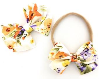 Signature Bow in Poppy Field - Girls Fabric Bow - Baby Girl Headband - Choose nylon headband or Clip