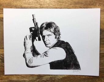 Print of Original Illustration of Han Solo in Star Wars