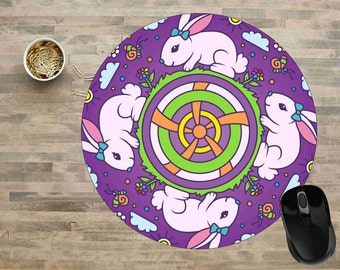 Mandala Mouse Pad,Bunny Mandala Mouse Pad, Bunny Mouse Pad, Computer Mouse Pads,  Mouse pad, Cute Mouse Pads, Mouse Pad