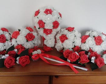 wedding flower package coral & white soft touch roses teardrop bouquet bridesmaids bouquet bridesmaid wand wedding flowers soft touch  roses