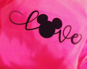 Neon pink love Mickey Mouse Disney comfort colors long sleeve