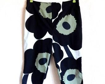 MARIMEKKO Fabric Handmade Pants Capri Pants Floral Trousers Cotton Clothing Marimekko Fabric Women's Cloting Summer Pants Marimekko Designs