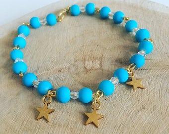 "Bracelet Pearl & charm ""Blue Star"""