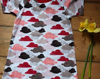 Short sleeve jersey cloud print dress