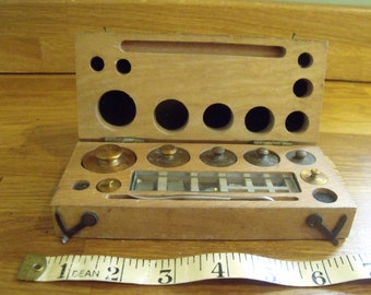 Vintage Apothecary Weights in a wooden box