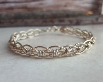 Sterling Silver Bracelet - Woven Silver Bracelet - Silver Bracelet - Sterling Silver Woven Bracelet - Weaved Bracelet - Sterling Bracelet