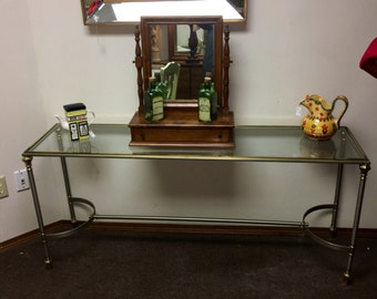 Charming Vintage Mid Century Hollywood Regency Console Table By Ethan Allen In  Brushed Steel, Brass,