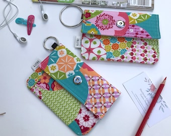 Bright multicolored flowers and patterns wallet/ pouch/ bag (Japanese Fabric)