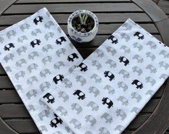 Tea Towels, Set of 2,  Elephant Towels, Kitchen Towels, Dish Towels, Cotton Towels