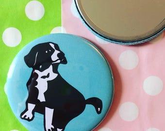 Border Collie Pocket Compact Mirror Dog Puppy Print Pattern Blue (58mm)
