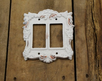 Cast Iron Double Wide Modern Light Switch Plate