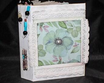 PEARL ... Junk Journal, Writing Journal, Notes Journal, Personal Journal, Keepsake Journal, Diary Journal. Handmade Journal