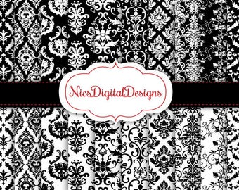 Buy 2 Get 1 Free-20 Digital Papers. Damask Patterns in Black and White (12 no 1) for Personal Use and Small Commercial Use Scrapbooking