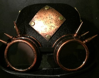 Steampunk Bowler Top Hat, With OOAK Textured Antiqued Copper Plate Design With Brass Pins, Copper Effect Goggles With Spikes