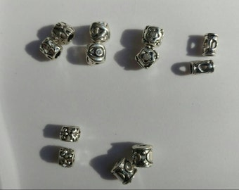 Large Hole European Style Antique Silver Beads