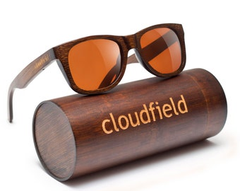 Cloudfield Wooden sunglasses (Bamboo) with Polarized brown lenses - Wooden wayfarer design - Bamboo sunglasses with case (ONLY USA)
