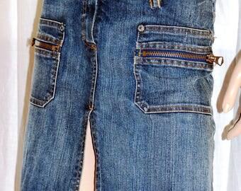 DENNY ROSE, Denim Skirt, Blue Jeans Skirt, Slit Denim Skirt, Stretched Denim Skirt, Summer Denim Skirt, Size M, Gonna Jeans Blu