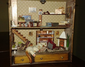 "Dolls house miniatures roombox ""kitten intrusive"""