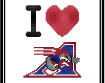 I Love The Montreal Alouettes Counted Cross Stitch Pattern (PDF Download)