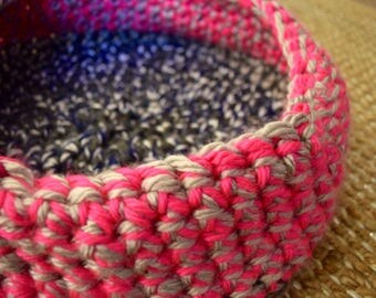 Crochet Cat Bed - Hot Pink and Blue Yarn