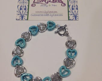 Turquoise Hearts Bracelet