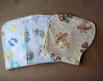 Flannel burp cloths, contoured burp cloths, Gender neutral burp cloths, Burp cloth set, Burpers, Burp Rags, Baby Shower gift