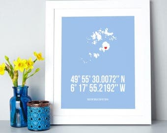 Personalised Map Coordinates Print