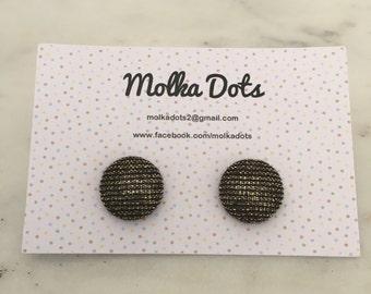 Black and Gold Earrings. Gold Sparkle Earrings. Handmade Earrings. Fabric Covered Button Earrings. Stud Earrings. Clip On Earrings.