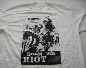 Green Day Riot  vintage white  european tour shirt 1995 murder at 120 miles per hour  deadstock new distributed by outer limits x-large