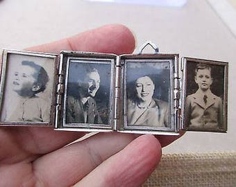 Vintage Art Deco Large Silver Plated Double Opening Family Locket/Pendant