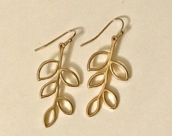 Matte gold leaf earrings