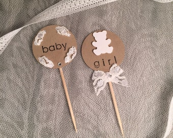 Baby shower cupcake toppers - Set of 12