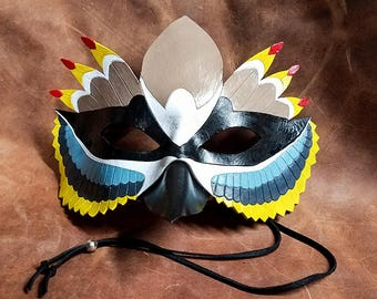 Leather Cedar Waxwing Mask - Made to Order