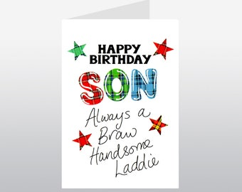 Tartan Words Son Birthday card WWTW08