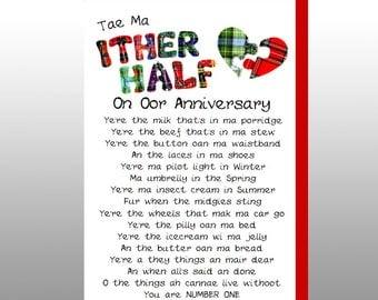 Scottish Anniversary Card Tae Ma Ither Half WWWE40