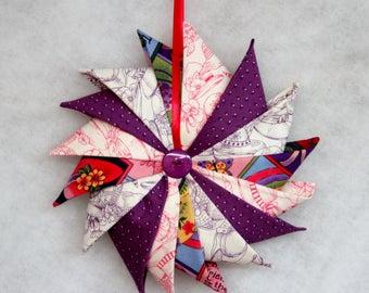 Folded Fabric Wreath, Red Hat Fabric Wreath, Home Decor