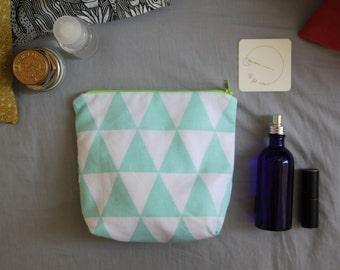 Geometric blue cover / Kit printed triangle / Mini kit of toilet / fluo Green