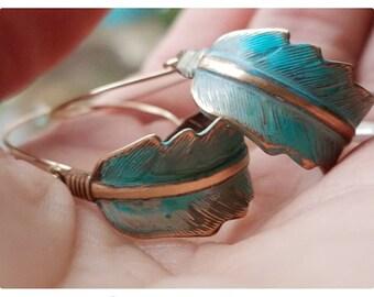 Feather Hoop Earrings  - 14K Gold Filled Jewelry - Boho Jewelry - Gypsy Jewelry - Feather Jewelry - Bohemian Hoop Earrings