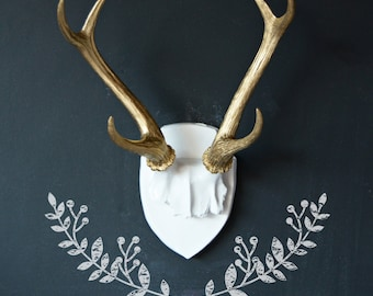 Large Faux Deer Antler Mount, Gold Antlers, Home Decor,  Wall Decor, White and Gold Decor, Antler Trophy, Deer Antlers, Gold Deer Antlers