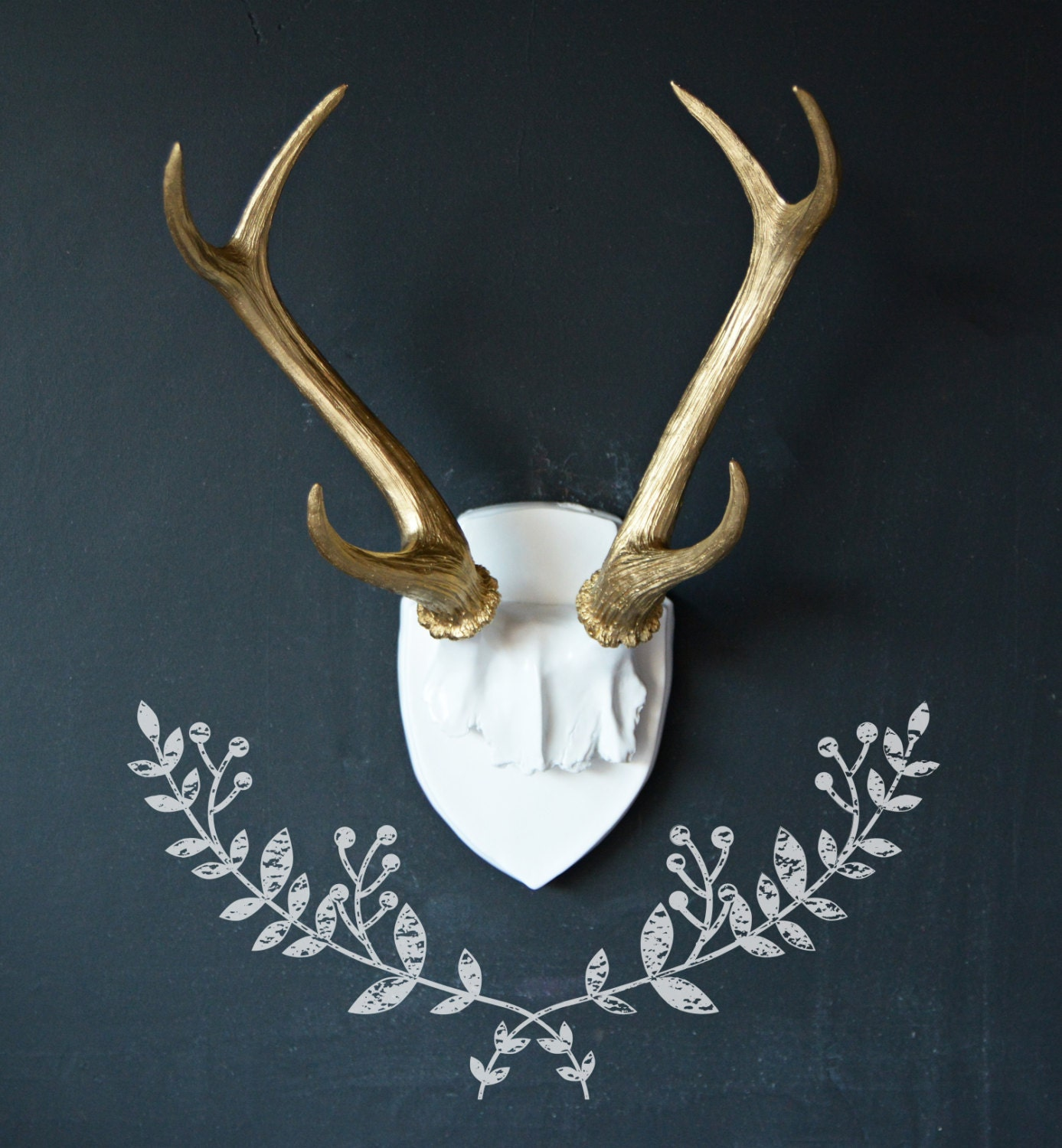 Large faux deer antler mount gold antlers home decor wall zoom amipublicfo Images