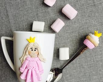 Princess mug decorated polymer clay mug gift idea handmade with love