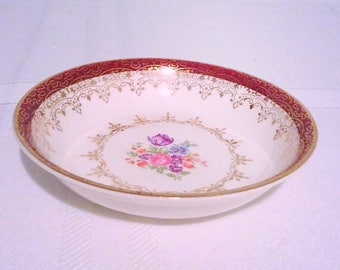 Harmony House Heirloom dish, Marroon band and floral pattern small plate.