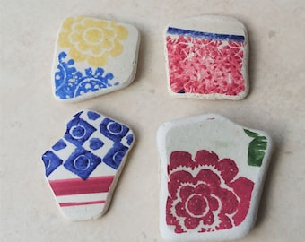 Four Colourful Sea Pottery Shards, Sea Pottery, Beach Pottery, Craft Supply, Jewelry Supply, Sea Glass Art, Mosaic Supply, Beachcombed Items