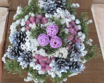 Dried flowers,rustic wedding,pine cones bouquet,dried flower wedding bouquet,floral arrangement,bridal bouquet,winter wedding bouquet