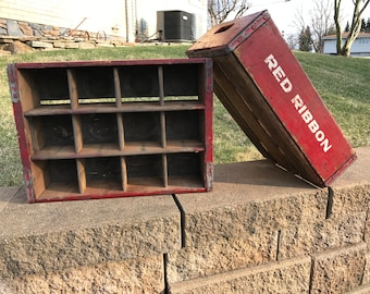 Pine Red Ribbon Soda Pop Wood Crate For Storage And Carrying Cola Circa 1950's Western Pennsylvania